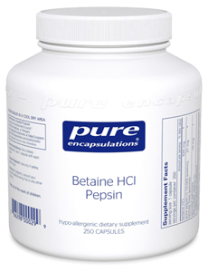 Bottle of Betaine HCL with Pepsin Supplements